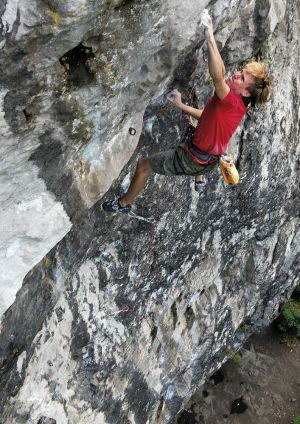 Cclimbing 2013:Sponsors Page_Ed Hamer on Major Waddage (F8b), Raven Tor, Peak District